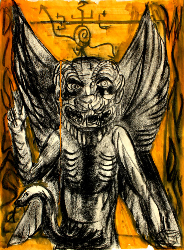 A Mesopotamian wind demon named Pazuzu with sigil above his head.