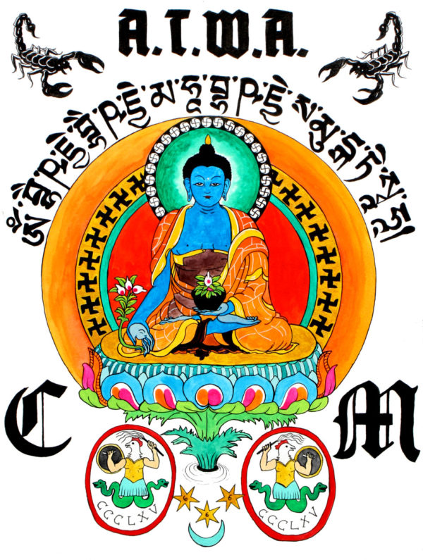 Medicine Buddha meditating with Charles Manson. Abraxas symbols and Sanskrit letting above the icon.