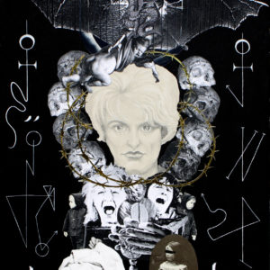 Child Killer Myra Hindley surrounded by skulls and crying children. Sigils and Saturn ritual.