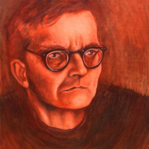 A traditional portrait of composer Dmitri Shostakovich overlayed with a red glaze.