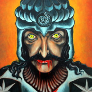 Vlad Tepes bleeds from the mouth in full battle armor. His helmet shows the sign of the Dragon.