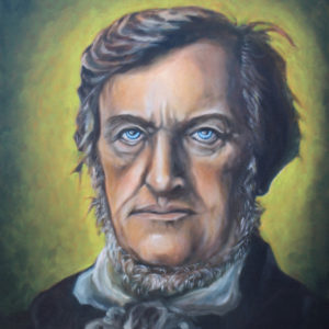 A classical portrait of German composer Richard Wagner is set on a green background.